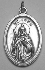 """$3.00 - St. Jude Medal - .75"""" - Nickel Silver"""