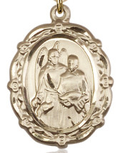 "$91.50 - St. Raphael Floral Medal - .875"" - Gold Filled"