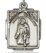 """$33.50 - Square St. Peregrine Medal - .75"""" - Sterling Silver"""