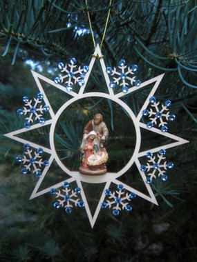 Woodcarved Holy Night Crib Star-Snowflake Ornament with blue crystal