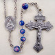 Immaculate Heart of Mary Blue Czech Lampwork Rosary