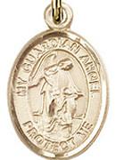 """Guardian Angel - .50"""" Oval - Gold Filled Side Medal"""