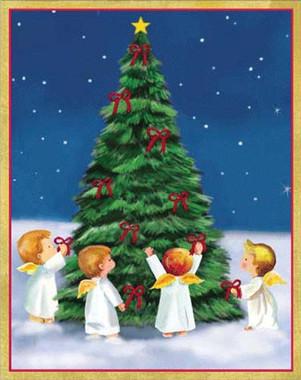 Angels Around Christmas Tree Christmas Card