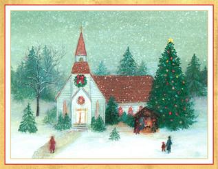 Midnight Mass Winter Scene Christmas Card