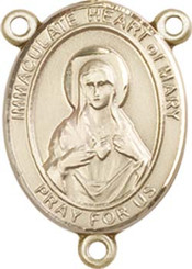 """Imaculate Heart of Mary - .75"""" Oval - Gold Filled Centerpiece"""