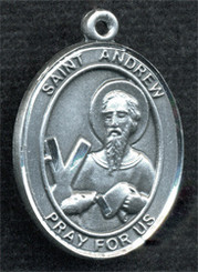 """Oval St. Andrew Medal - .75"""" - Pewter"""