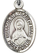 """Immaculate Heart of Mary - .50"""" Oval - Sterling Silver Side Medal"""