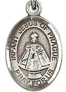 """Infant of Prague - .50"""" Oval - Sterling Silver Side Medal"""