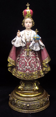 Infant of Prague Statue on Base With Prayer