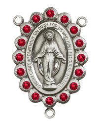 "Miraculous Medal With Ruby Crystal - .75"" - Silver Plated Centerpiece"