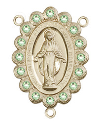 """Miraculous Medal With Peridot Crystal - .75"""" - Gold Filled Centerpiece"""