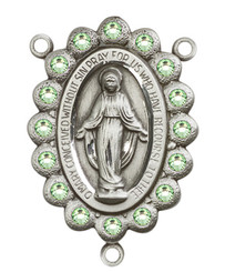 "Miraculous Medal With Peridot Crystal - .75"" - Silver Plated Centerpiece"
