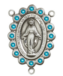 "Miraculous Medal With Zircon Crystal - .75"" - Sterling Silver Centerpiece"