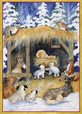 Visitors at the Manger Christmas Cards