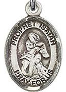 "Prophet Isaiah - .50"" Oval - Sterling Silver Side Medal"
