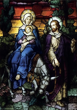 Flight Into Egypt Stained Glass Christmas Card