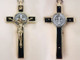 Ebony wood Two-tone, Yellow brass and nickel silver, St. Benedict Crucifix