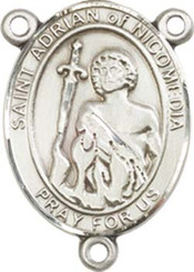 """St. Adrian Of Nicomedia - .75"""" Oval - Sterling Silver Centerpiece"""