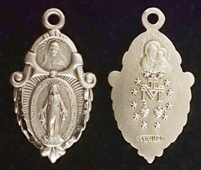 Miraculous Medal with Sacred Heart on the top