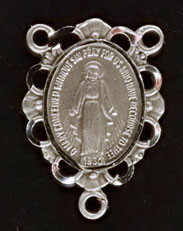 """Small Filigree Miraculous Medal  - .75"""" - Pewter Centerpiece"""