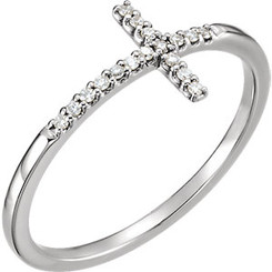Sterling Silver/White Gold Diamond Sideways Cross Ring