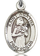 """St. Agatha - .50"""" Oval - Sterling Silver Side Medal"""