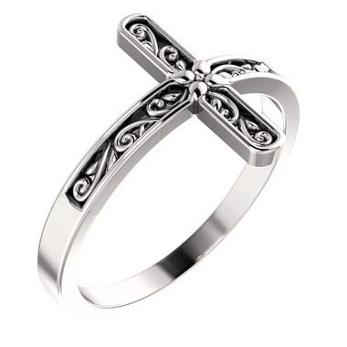 Sterling Silver Embossed Side Cross Ring
