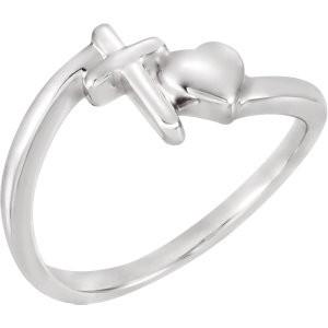 Sterling Silver Heart/Cross Ring
