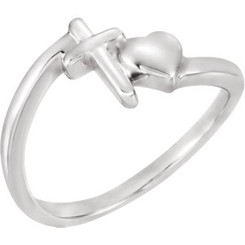 Sterling Silver Heart/Cross Ring