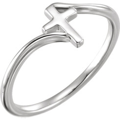 Sterling silver Cross Bypass ring