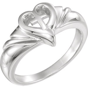 Sterling silver heart and cross ring