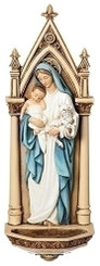 Our Lady with Baby Jesus and Lamb Holy Water Font