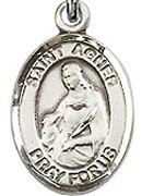 """St. Agnes of Rome- .50"""" Oval - Sterling Silver Side Medal"""