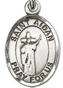 "St. Aidan of Lindesfarne - .50"" Oval - Sterling Silver Side Medal"