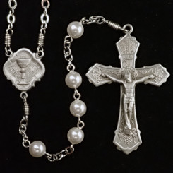 White First Communion Rosary