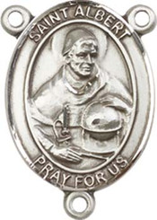 """St. Albert the Great - .75"""" Oval - Sterling Silver Centerpiece"""