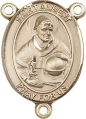 """St. Albert the Great  - .75"""" Oval - Gold Filled Centerpiece"""