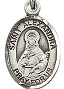 "St. Alexandra - .50"" Oval - Sterling Silver Side Medal"