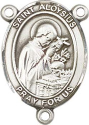 "St. Aloysius Gonzaga - .75"" Oval - Sterling Silver Centerpiece"