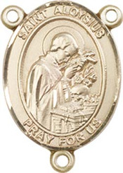 "St. Aloysius Gonzaga - .75"" Oval - Gold Filled Centerpiece"