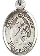"St. Aloysius Gonzaga - .50"" Oval - Sterling Silver Side Medal"