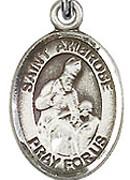 """St. Ambrose - .50"""" Oval - Sterling Silver Side Medal"""