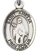 "St. Amelia - .50"" Oval - Sterling Silver Side Medal"
