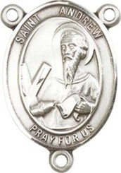 """St. Andrew the Apostle  - .75"""" Oval - Sterling Silver Centerpiece"""