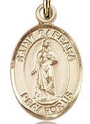 """St.Barbara - .50"""" Oval - Gold Filled Side Medal"""