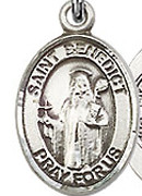 "St. Benedict - .50"" Oval - Sterling Silver Side Medal"