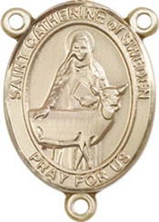 """St. Catherine of Sweden - .75"""" Oval - Gold Filled Centerpiece"""