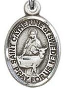 """St. Catherine of Sweden - .50"""" Oval - Sterling Silver Side Medal"""