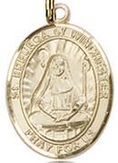 """St. Edburga of Winchester  - .50"""" Oval - Gold Filled Side Medal"""