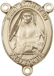 """St. Edith Stein - .75"""" Oval - Gold Filled Centerpiece"""